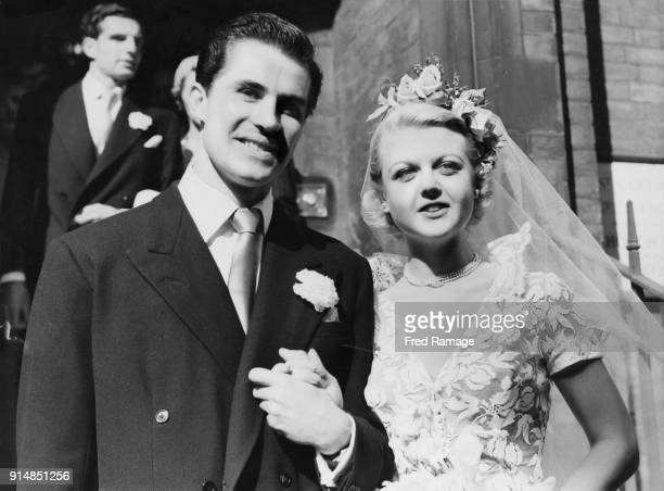 Actress Angela Lansbury after her wedding to actor Peter Shaw at the Chapel of St Columba's Church House in Lennox Gardens Kensington London 12th...