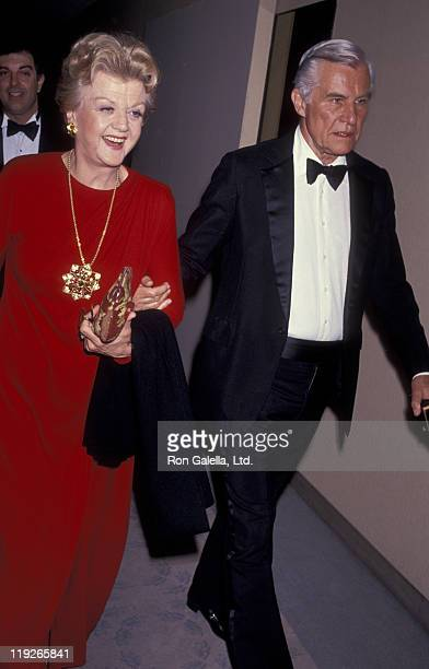 Actress Angela Lansbury and husband Peter Shaw attend 48th Annual Golden Globe Awards on January 19 1991 at the Beverly Hilton Hotel in Beverly Hills...
