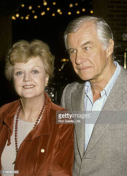 Actress Angela Lansbury and husband Peter Shaw attend Actors Fund Benefit Party on December 14 1986 at Gingerman Restaurant in Los Angeles California