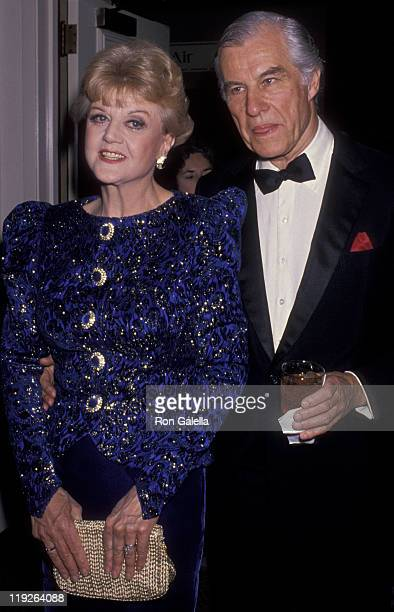 Actress Angela Lansbury and husband Peter Shaw attend International Broadcasting Awards on March 22 1989 at the Century Plaza Hotel in Century City...