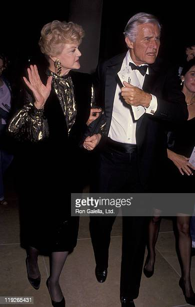 Actress Angela Lansbury and husband Peter Shaw attend Maple Center Gala on October 10 1990 at the Beverly Hilton Hotel in Beverly Hills California