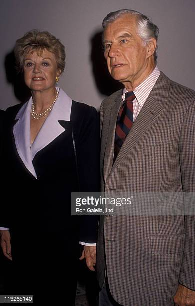 Actress Angela Lansbury and husband Peter Shaw attend Mother Of The Year Awards Luncheon on May 4 1990 at the Beverly Hilton Hotel in Beverly Hills...