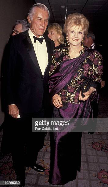Actress Angela Lansbury and husband Peter Shaw attend National Conference of Christians and Jews Gala on October 28 1991 at the Century Plaza Hotel...