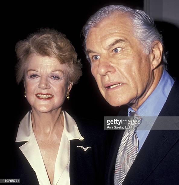 Actress Angela Lansbury and husband Peter Shaw attend Television Academy Gala Honoring Angela Lansbury on February 22 1990 at the Beverly Hilton...