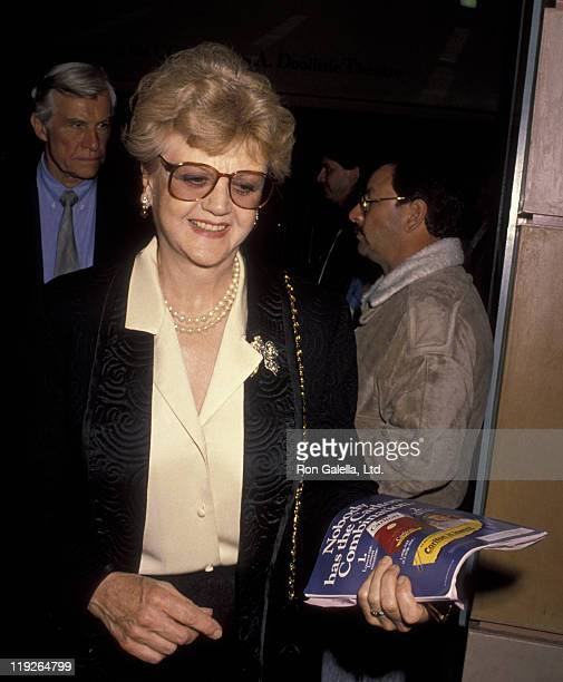 Actress Angela Lansbury and husband Peter Shaw attend the opening of The Cocktail Hour on April 19 1990 at James Doolittle Theater in Hollywood...
