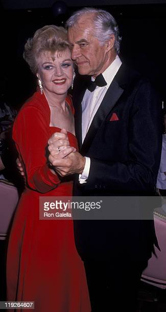 Actress Angela Lansbury and husband Peter Shaw attend the party for 43rd Annual Tony Awards on June 4 1989 at the New York Hilton Hotel in New York...