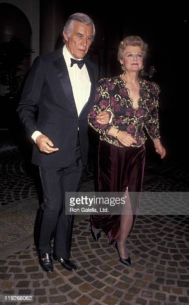 Actress Angela Lansbury and husband Peter Shaw attend Tribute Gala Honoring Andrew Lloyd Webber on February 25 1991 at the Beverly Wilshire Hotel in...