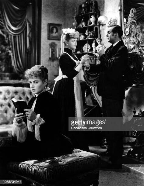 Actress Angela Lansbury Ingrid Bergman Charles Boyer in a scene from the movie Gaslight