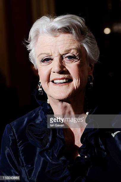 Actress Angela Lansbury poses in the press room during The Olivier Awards 2011 at Theatre Royal on March 13 2011 in London England