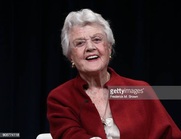 Actress Angela Lansbury speaks during the PBS segment of the 2018 Winter Television Critics Association Press Tour at The Langham Huntington Pasadena...