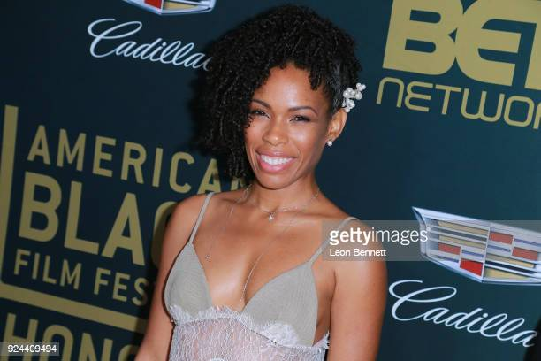 Actress Angela Lewis attends the 2018 American Black Film Festival Honors Awards at The Beverly Hilton Hotel on February 25 2018 in Beverly Hills...