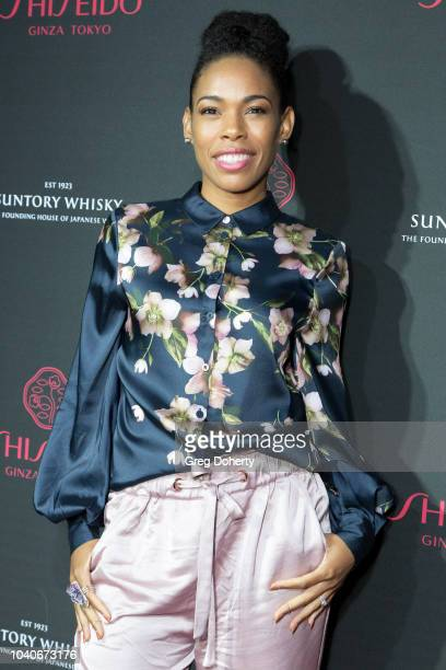 Actress Angela Lewis attends the Shiseido Makeup Launch Party at Quixote Studios on September 25 2018 in Los Angeles California