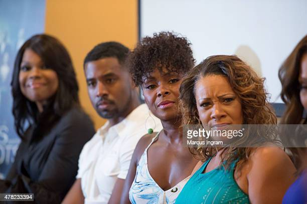 Actress Angela Robinson actor Gavin Houston actress Crystal Fox and actress Patrice Lovely attend the press reception with Tyler Perry's 'The Haves...