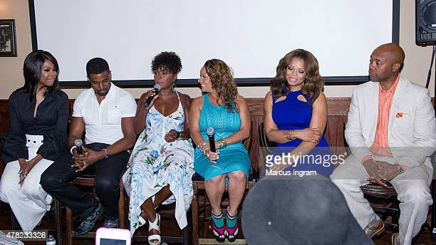Actress Angela Robinson actor Gavin Houston actress Crystal Fox actress Patrice Lovely actress Kendra C Johnson and actor Palmer Williams attend the...
