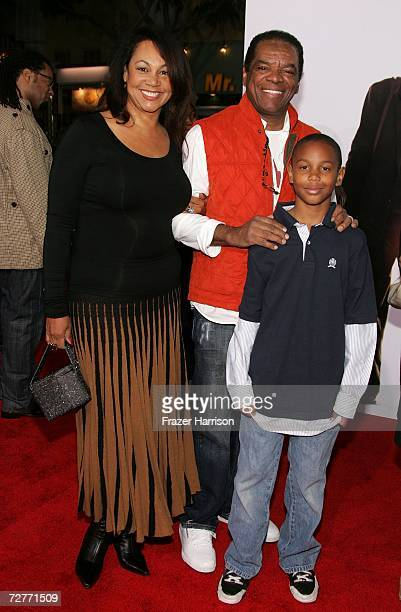 """Actress Angela Robinson and actor John Witherspoon with son arrive at the World Premiere of Columbia Pictures' """"The Pursuit of Happyness"""" at the Mann..."""