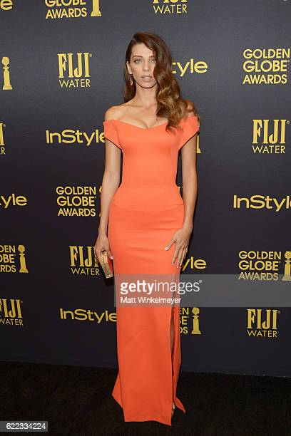 Actress Angela Sarafyan arrives at the Hollywood Foreign Press Association and InStyle celebrate the 2017 Golden Globe Award Season at Catch LA on...