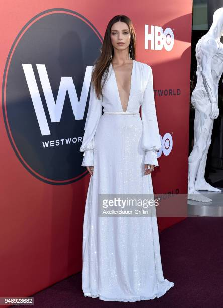 Actress Angela Sarafyan arrives at the Los Angeles premiere of HBO's 'Westworld' season 2 at The Cinerama Dome on April 16 2018 in Los Angeles...