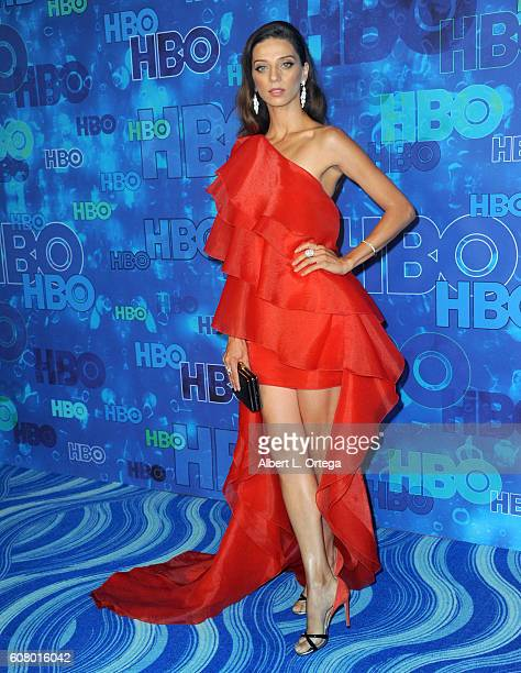 Actress Angela Sarafyan arrives for the HBO's Post Emmy Awards Reception held at The Plaza at the Pacific Design Center on September 18 2016 in Los...