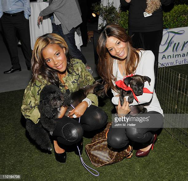 Actress Angela Simmons and makeup artist Vanessa Simmons attend the ASPCA launch for the 2011 Dodge Rock 'n' Roll Los Angeles half marathon...