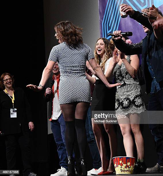 Actress Angela Trimbur speak on stage at the premiere of The Final Girls during the 2015 SXSW Music Film Interactive Festival at The Paramount...