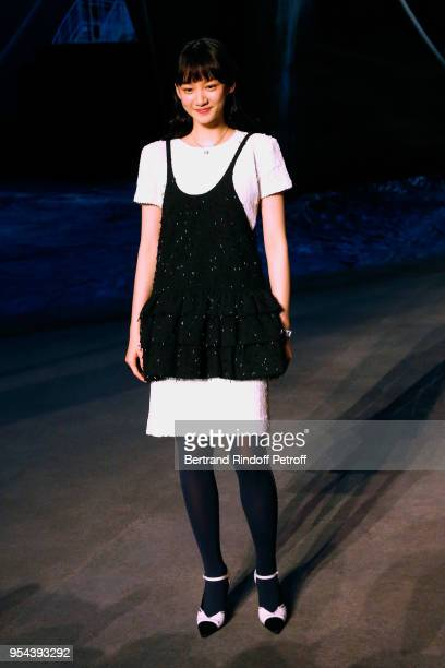Actress Angela Yuen attends the Chanel Cruise 2018/2019 Collection Photocall at Le Grand Palais on May 3 2018 in Paris France