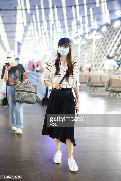 Actress Angelababy arrives at an airport on July 12 2020 in Shanghai China