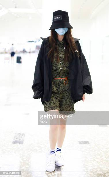 Actress Angelababy arrives at an airport on June 13 2020 in Beijing China