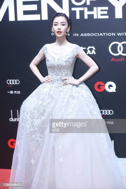 Actress Angelababy arrives at the red carpet for the GQ Men of The Year 2020 on December 4, 2020 in Shanghai, China.