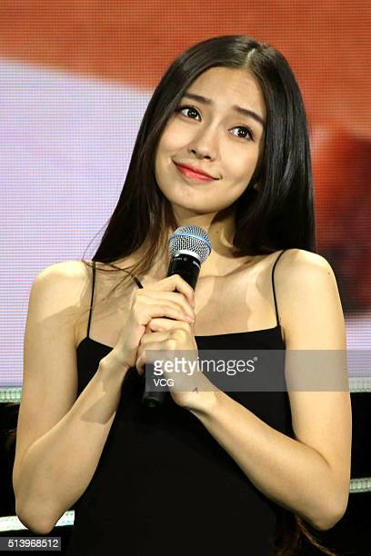 Actress Angelababy attends a fan meeting held by a game company on March 5 2016 in Shenzhen Guangdong Province of China