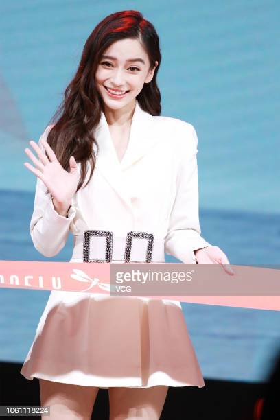 Actress Angelababy attends the new product launch of Red Dragonfly footwear on October 29 2018 in Shanghai China