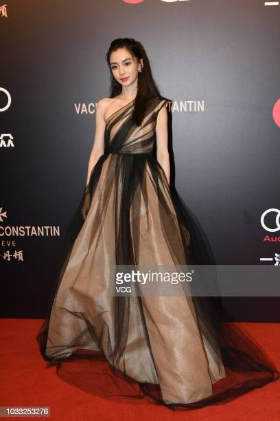 Actress Angelababy poses on the red carpet of 2018 GQ Men of the Year awards ceremony on September 8 2018 in Shanghai China