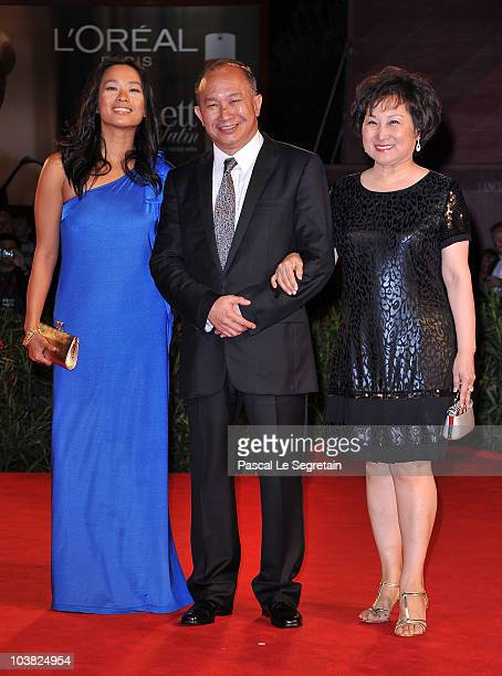 Actress Angeles Woo director John Woo and wife Annie Woo attends the 'Reign Of Assassins' premiere during the 67th Venice Film Festival at the Sala...