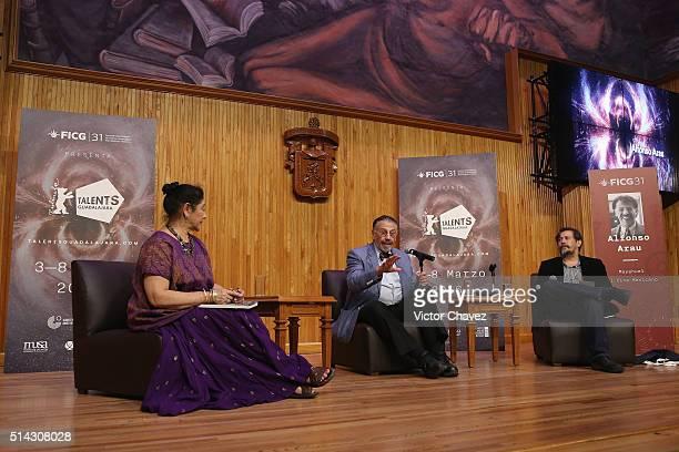 Actress Angelica Aragon actor/director/writer Alfonso Arau and Armando Casas attend a press conference to present the new book Asi Es La Vida during...