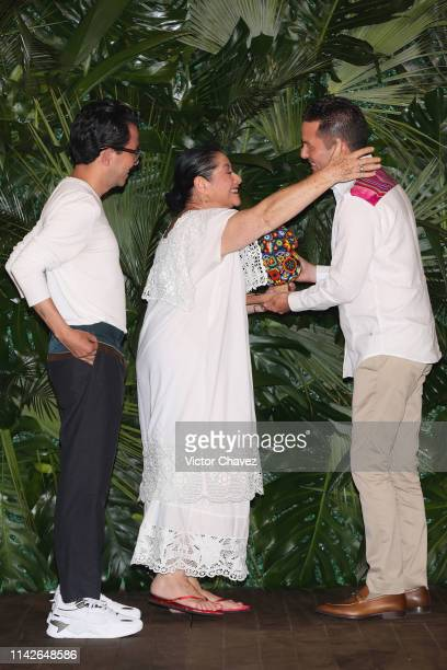 Actress Angelica Aragon and film director Manolo Caro receive the Xcaret award at Hotel Xcaret on May 10 2019 in Playa del Carmen Mexico