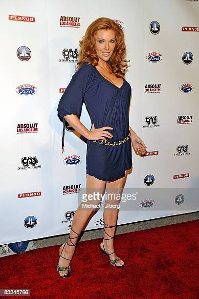Actress Angelica Bridges arrives at the benefit grand opening of celebrity vehicle customization shop Galpin Auto Sports on October 18 2008 in Van...