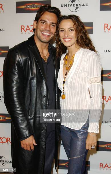 Actress Angelica Castro and husband/actor Cristian De La Fuente attend Universal Studio's 'The Scorpion King' DVD VHS Launch Party at Virgin Records'...