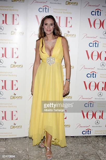 Actress Angelica Castro poses for photos at the Vogue en Espaol Hottest Designer Fashions Party on March 18 2005 in Fisher Island Florida