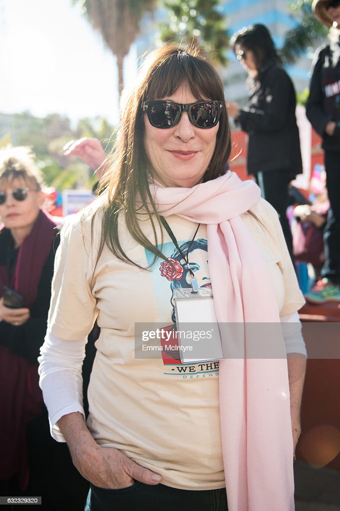 Actress Angelica Huston attends the women's march in Los Angeles on January 21, 2017 in Los Angeles, California.