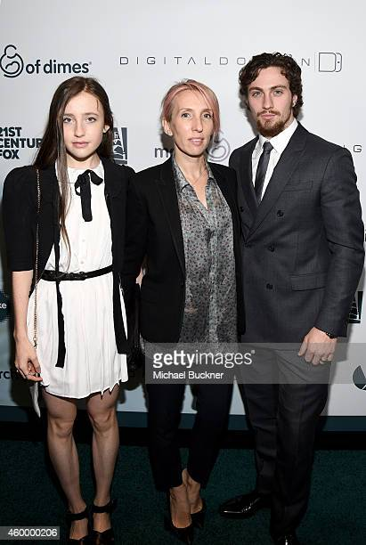 Actress Angelica Jopling director Sam TaylorJohnson and actor Aaron TaylorJohnson attends March of Dimes' Celebration of Babies A Hollywood Luncheon...