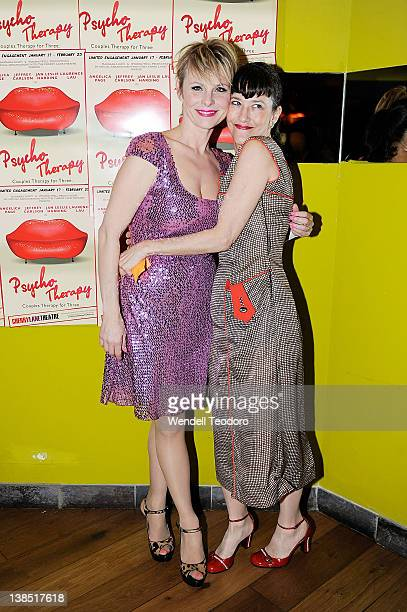 Actress Angelica Page and Jan Leslie Harding attends the 'Psycho Therapy' opening night at the Cherry Lane Theatre on February 7 2012 in New York City
