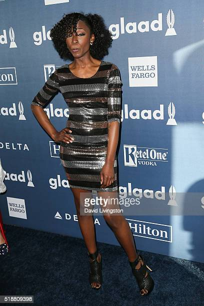 Actress Angelica Ross arrives at the 27th Annual GLAAD Media Awards at The Beverly Hilton Hotel on April 2 2016 in Beverly Hills California