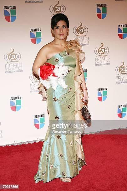 Actress Angelica Vale arrives at the Premio Lo Nuestro Latin Music Awards at the American Airlines Arena on February 21 2008 in Miami Florida