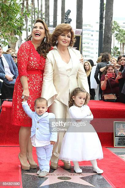 Actress Angelica Vale singer Angelica Maria Angelica Padron and Otto Padron attend a ceremony honoring Angelica Maria with a Star on The Hollywood...