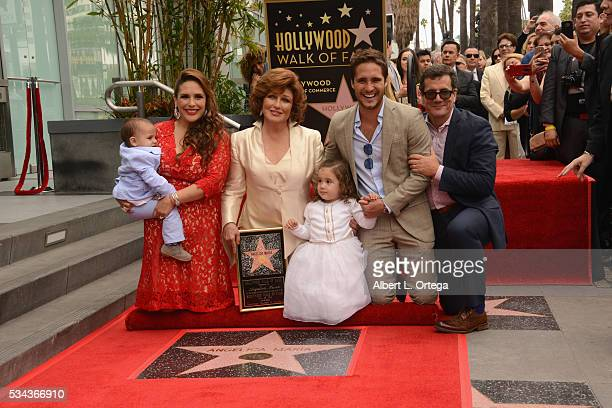 Actress Angelica Vale singer/actress Angelica Mariagrandaughter Angelica Padron grandson Otto Padron and actor Diego Boneta at the Angelica Maria...