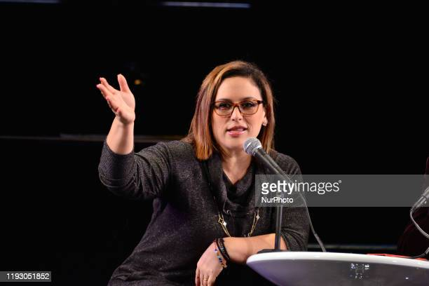 Actress Angelica Vale talks during a press conference to announce her integration to the cast of Chicago the Musical at Teatro Telcel on January 10,...