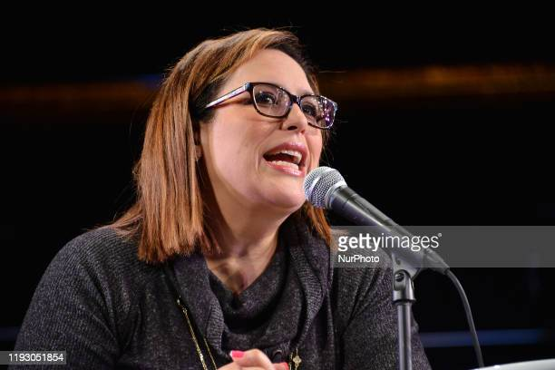 Actress Angelica Vale talks during a press conference to announce her integration to the cast of Chicago the Musical at Teatro Telcel on January 10...
