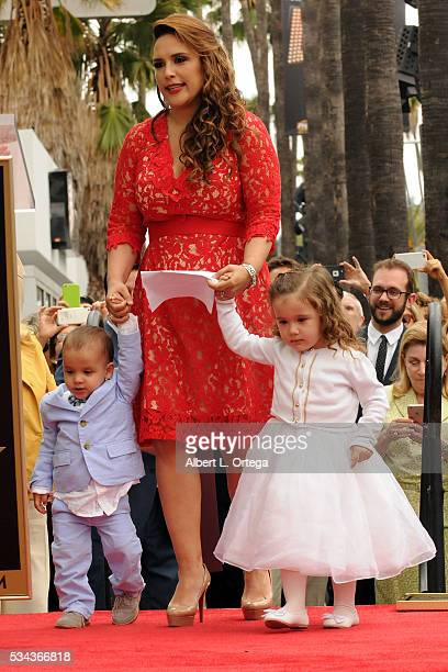 Actress Angelica Valle Otto Padron and Angelica Padron at the Angelica Maria Star ceremony held On The Hollywood Walk Of Fame on May 25 2016 in...