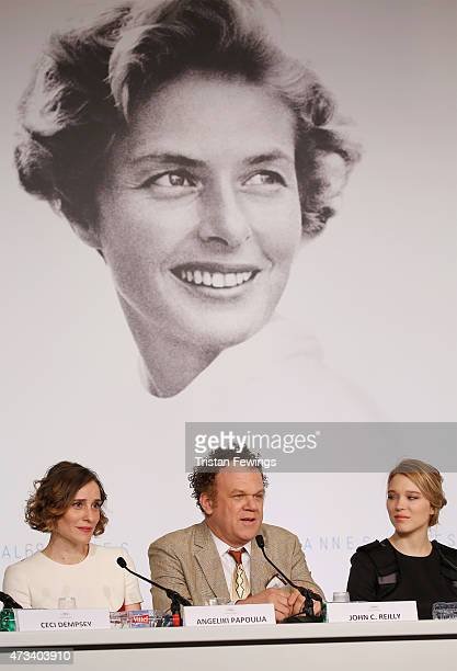 Actress Angeliki Papoulia actor John C Reilly and actress Lea Seydoux attend the 'The Lobster' press Conference during the 68th annual Cannes Film...