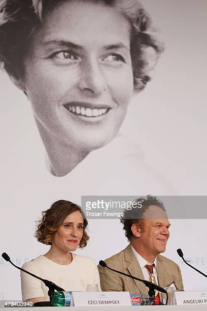 Actress Angeliki Papoulia and actor John C Reilly attend the 'The Lobster' press Conference during the 68th annual Cannes Film Festival on May 15...