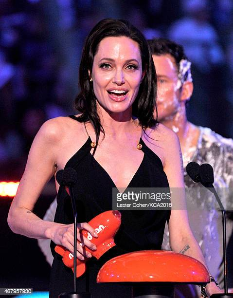 Actress Angelina Jolie accepts Favorite Villain for 'Maleficent' onstage during Nickelodeon's 28th Annual Kids' Choice Awards held at The Forum on...